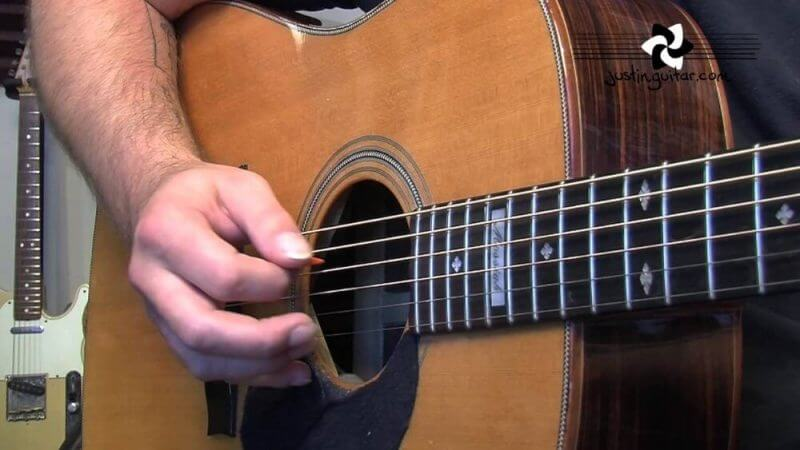hand on a guitar
