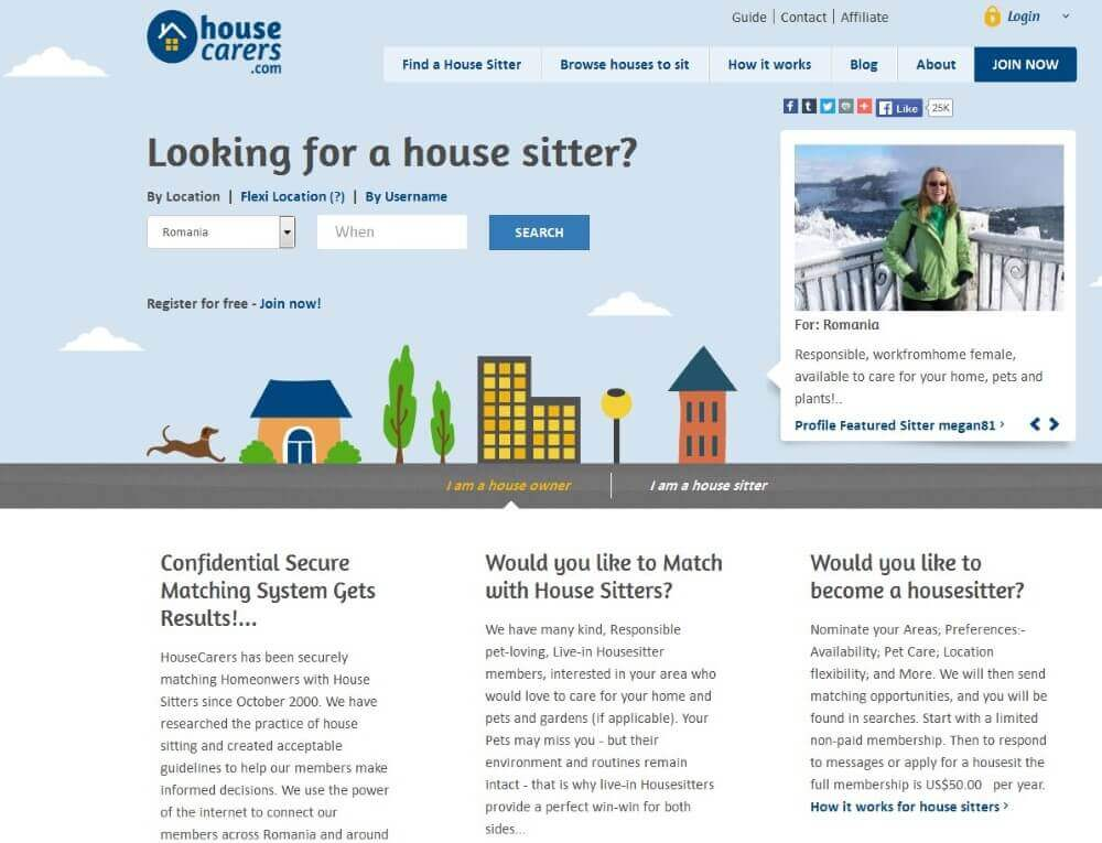 screenshot of house carers website