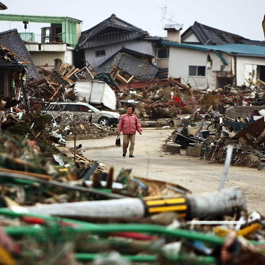 woman in a disaster area