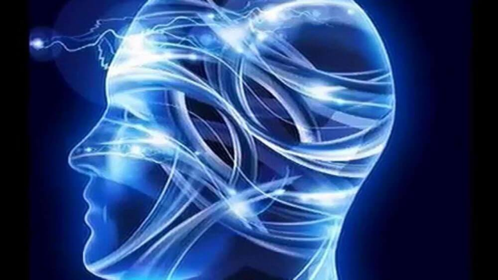 human head in blue illumination