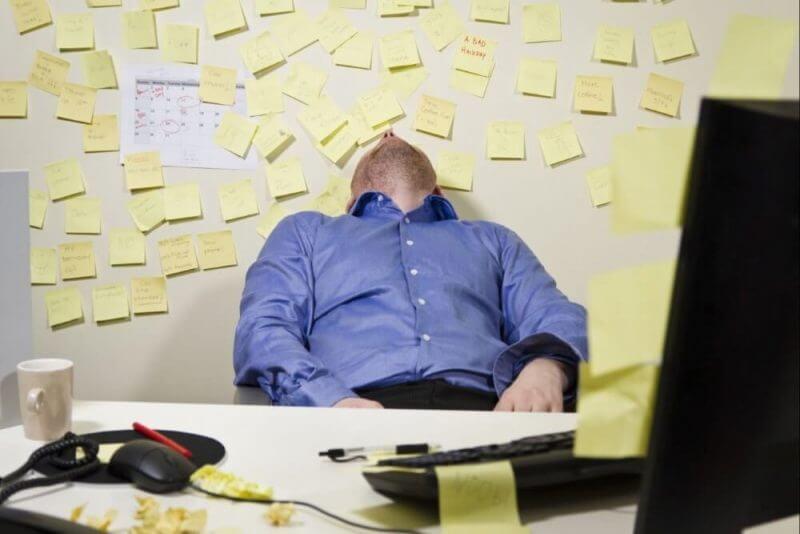 man sleeping in the office