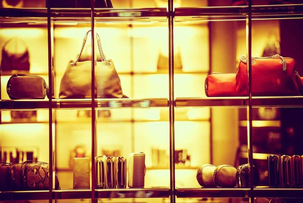 luxury goods on display