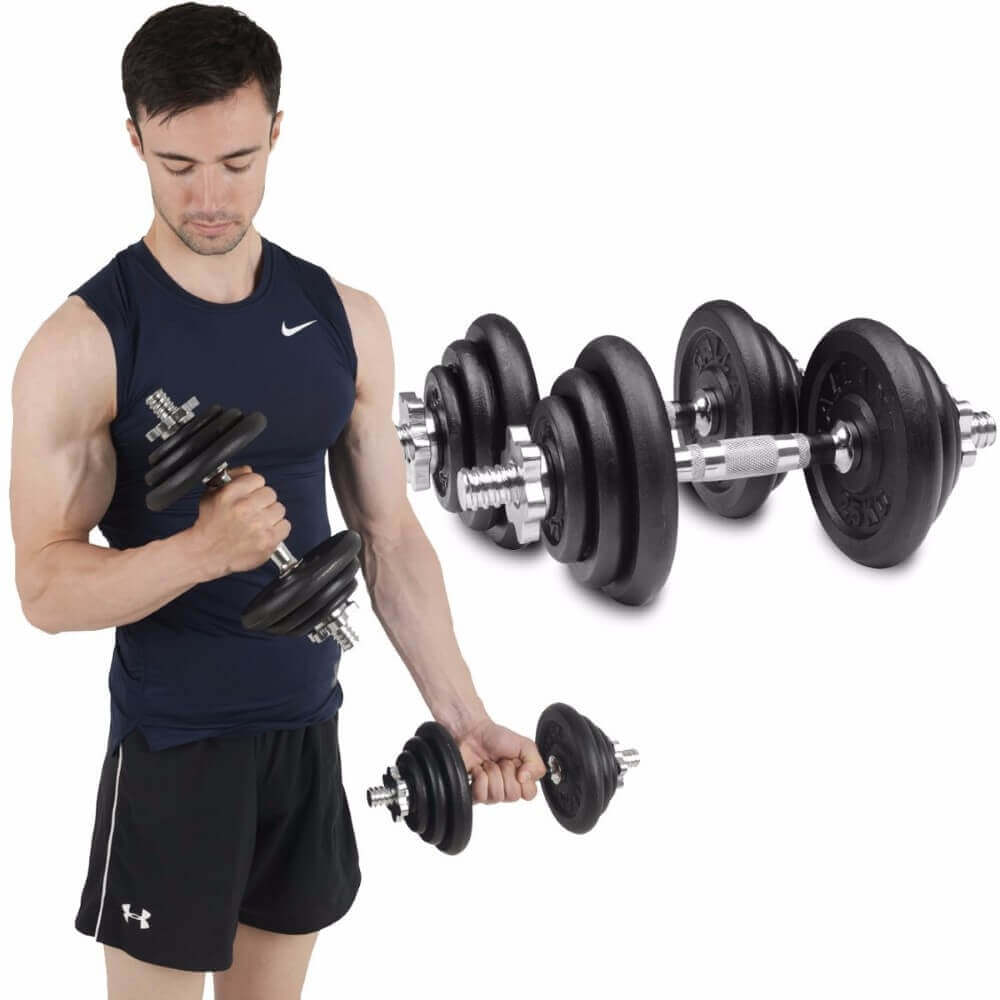 man and dumbbells