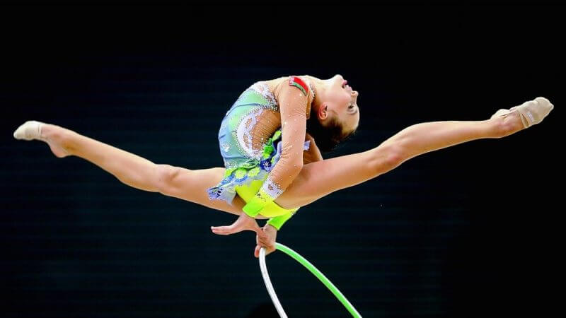 NANJING, CHINA - AUGUST 27: Maryia Trubach of Belarus competes in Rhythmic Gymnastics Individual All-Around Final on day eleven of the Nanjing 2014 Summer Youth Olympic Games at Nanjing OSC Gymnasium on August 27, 2014 in Nanjing, China. (Photo by Feng Li/Getty Images)