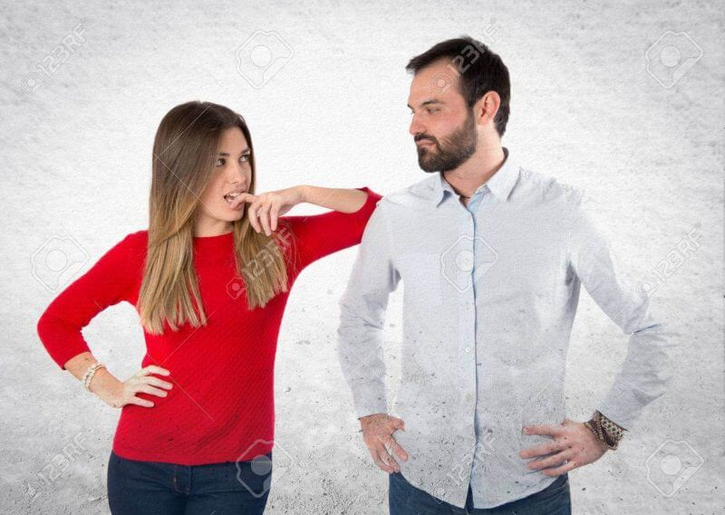 Girl seducing a man over white background