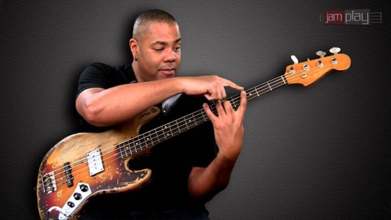 PLAYING BLUE BASS FROM A GUITOR