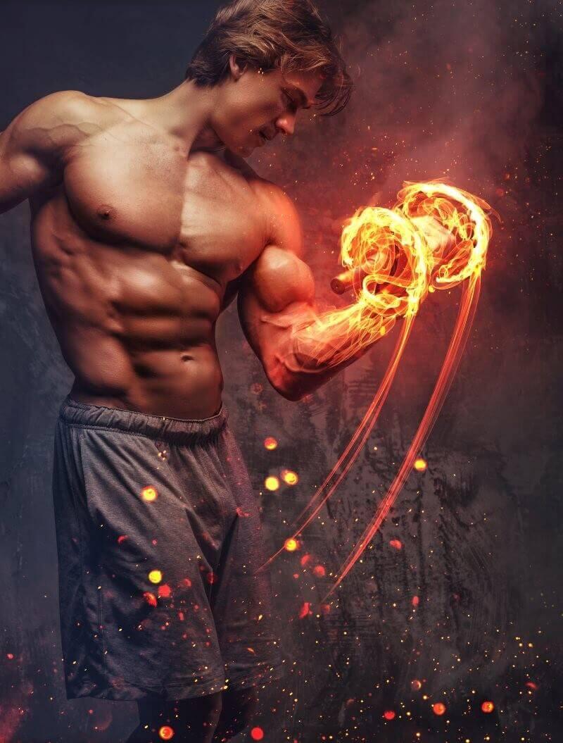 Shirtless bodybuilder with burning dumbbell.