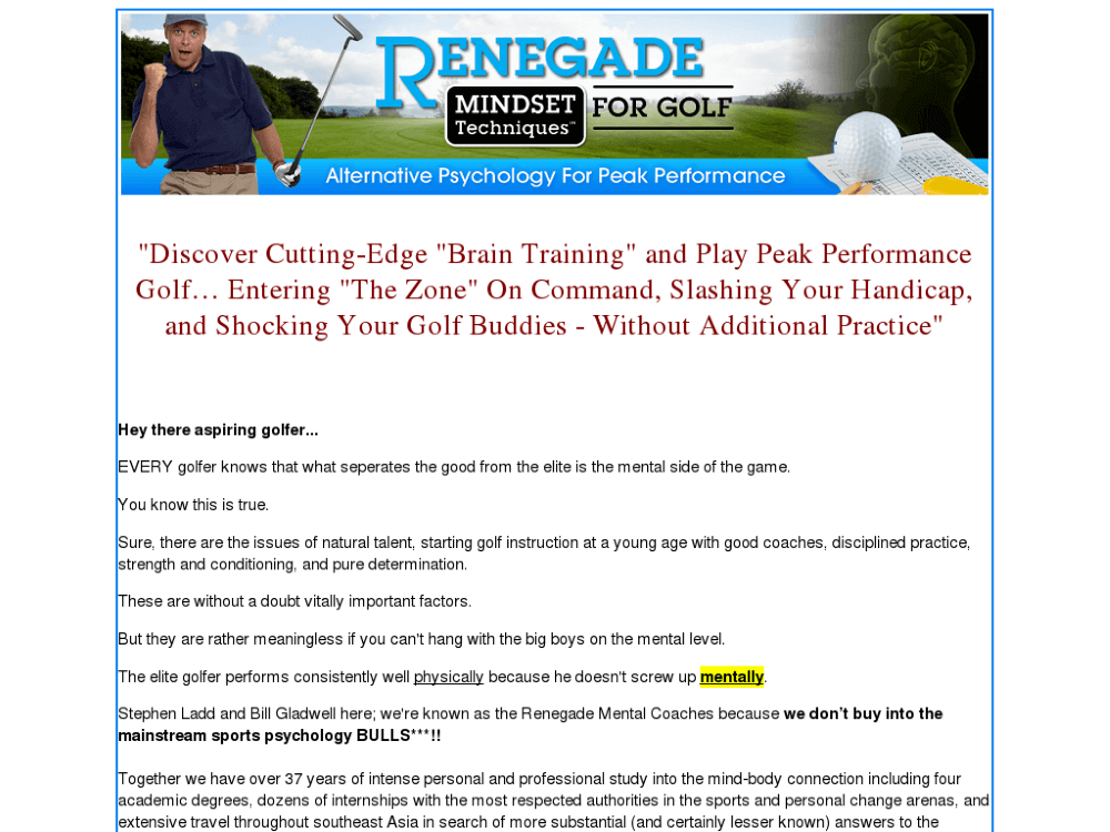 Renegade Mindset Techniques For Golf – In-Depth Review