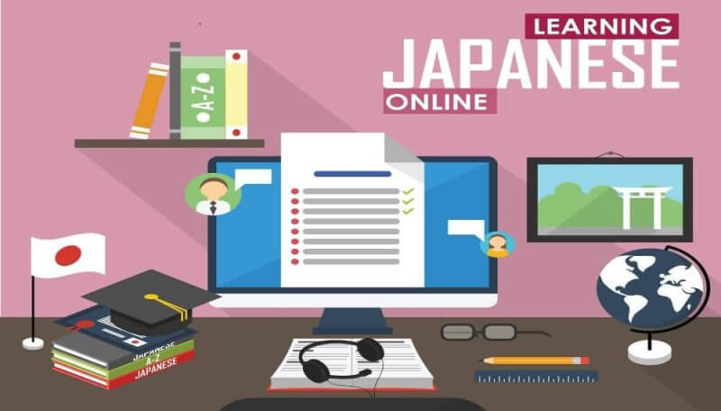 icons and illustration of learning japanese online