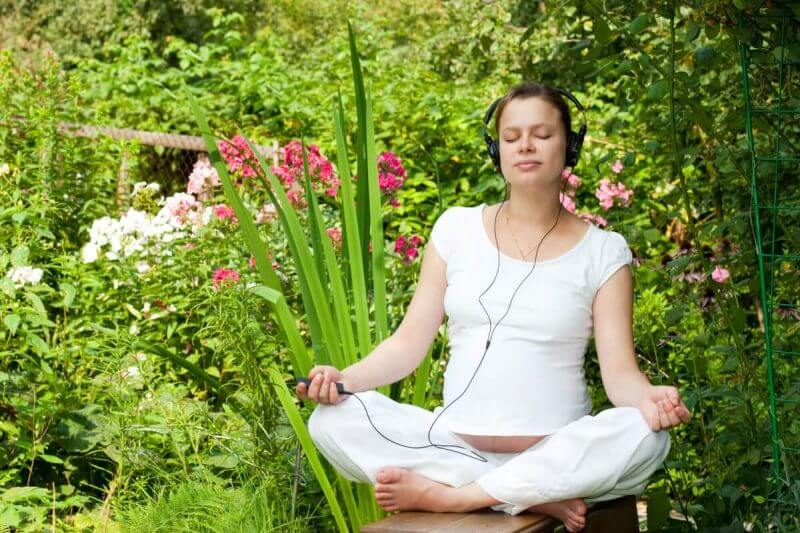 woman meditating in audio