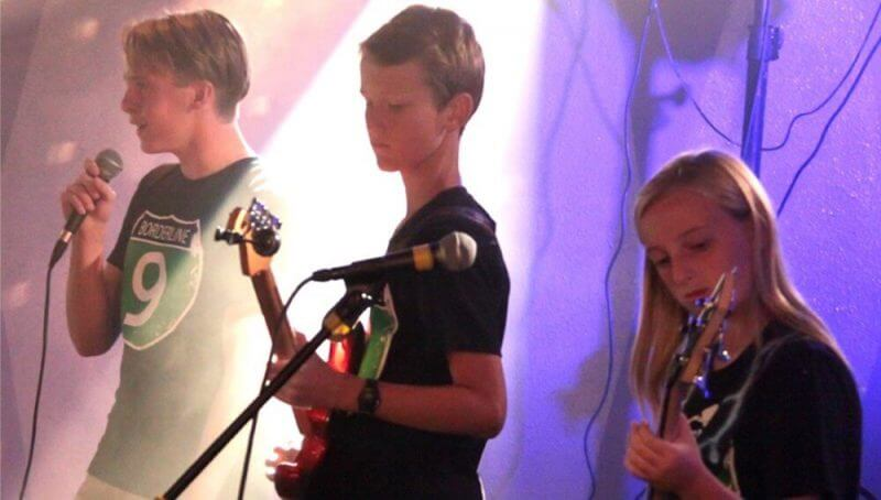 young people playing rock