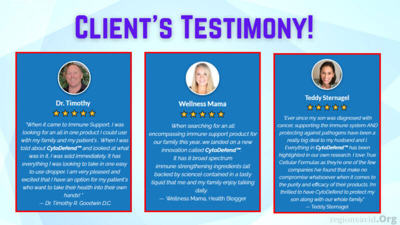 CytoDefend Client's Testimonials