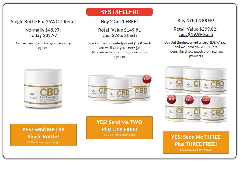 Prosper CBD Pain Freeze Cream pricing