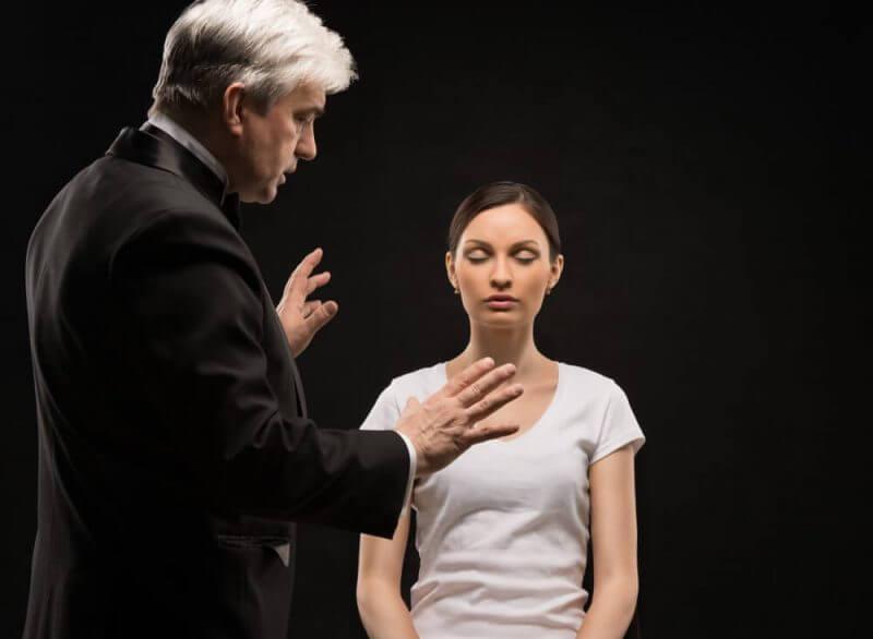 man talking to a lady