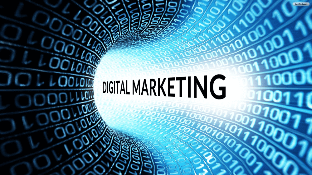 digital marketing word covered by blue numbers