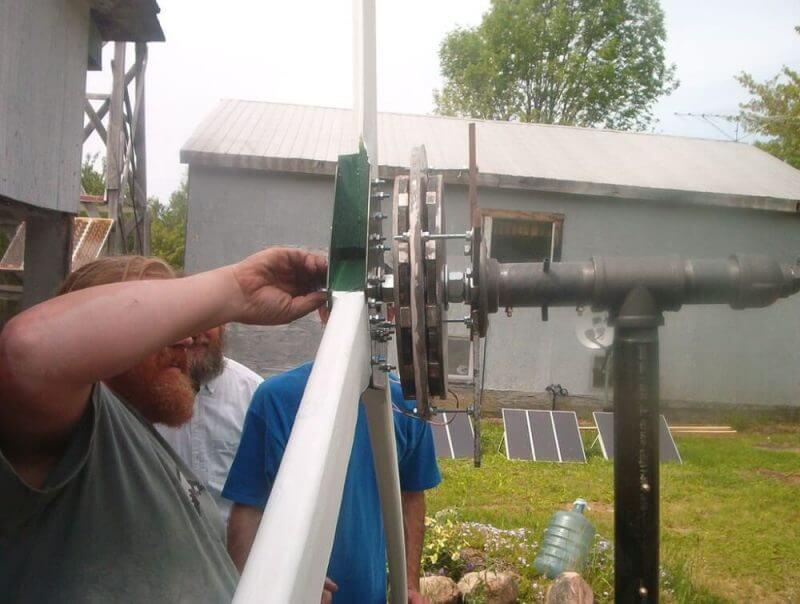 man creating a turbine