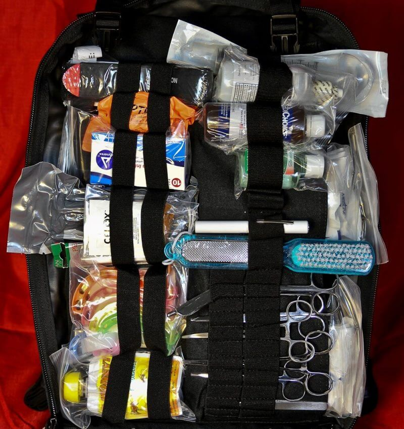 the inside of a medical bag