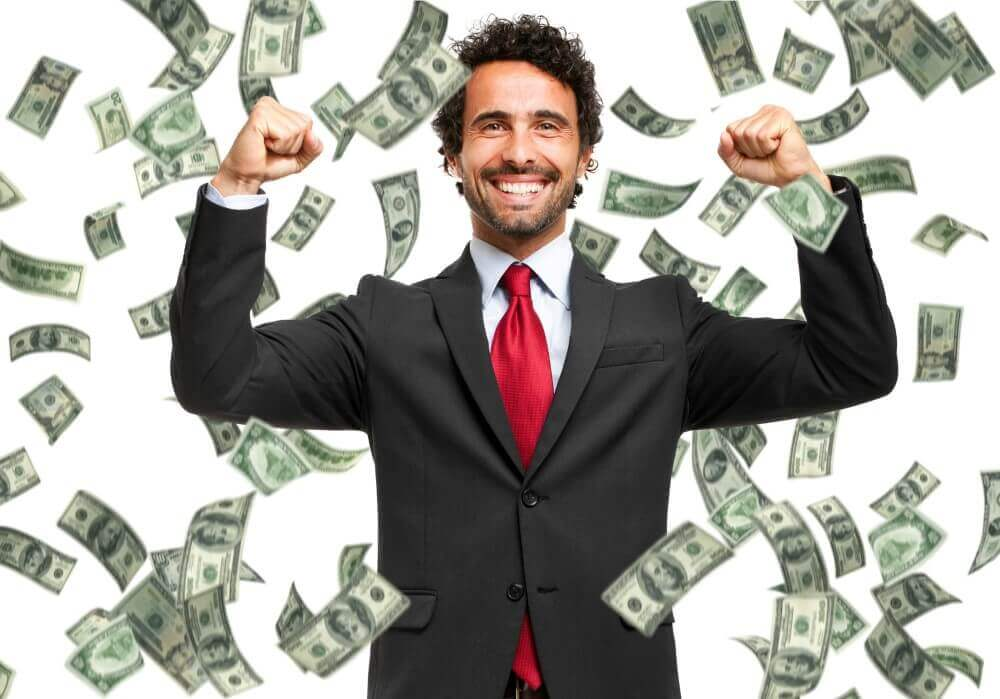happy man and some money