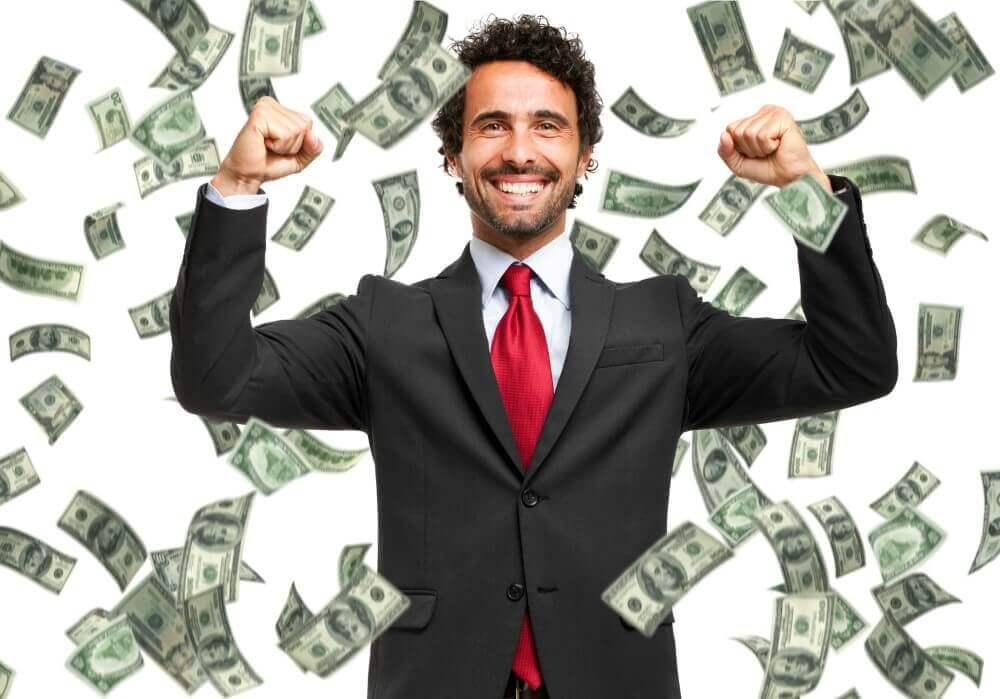 happy man and some money