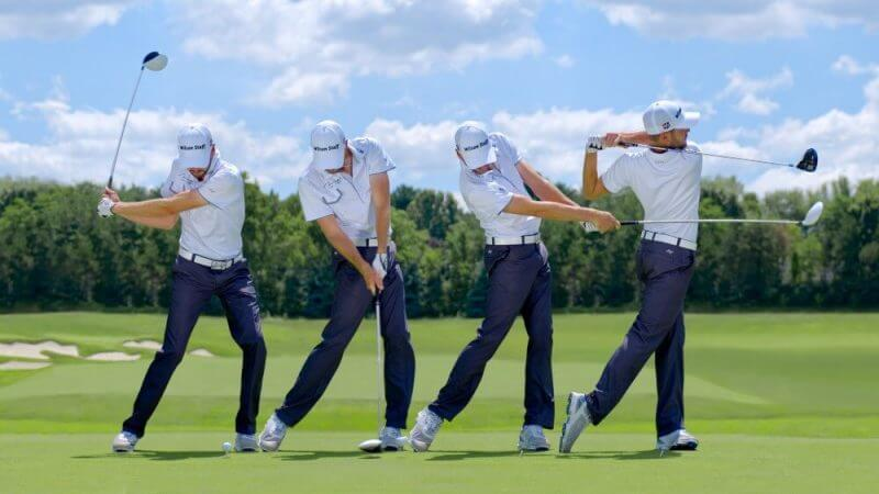 sequential process of a golf player hitting the golf ball