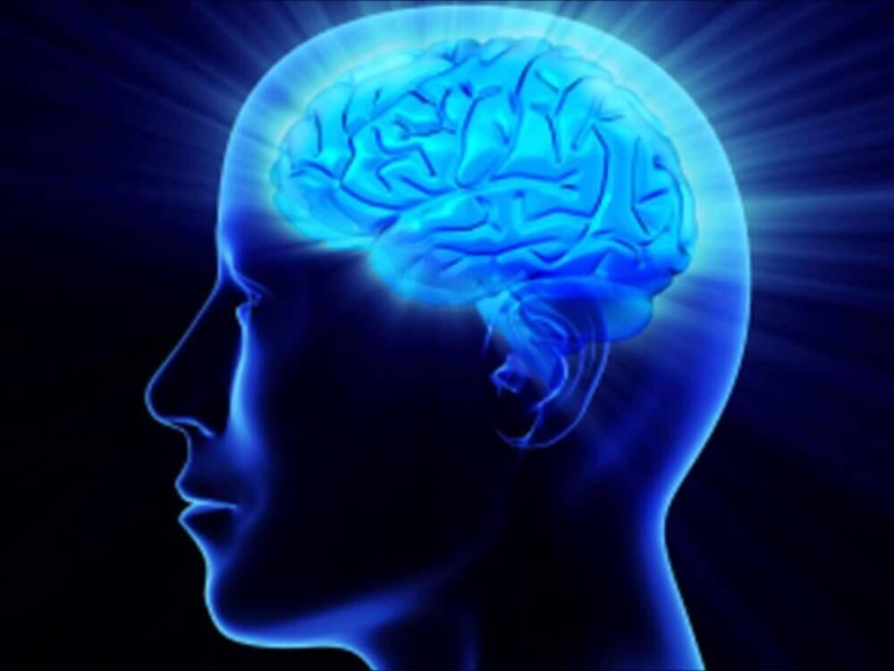 human head illuminated