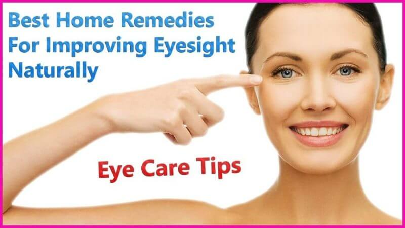 best home remedies for improving eyesight naturally and a woman pointing at her eyes