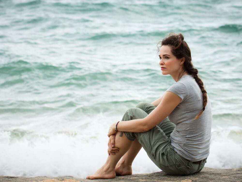 woman seated on the beach