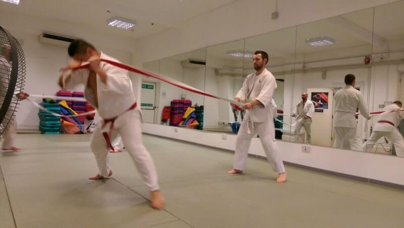 judo fighters training