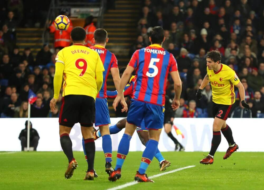 LONDON, ENGLAND - DECEMBER 12: Daryl Janmaat of Watford scores the first Watford goal during the Premier League match between Crystal Palace and Watford at Selhurst Park on December 12, 2017 in London, England. (Photo by Catherine Ivill/Getty Images)