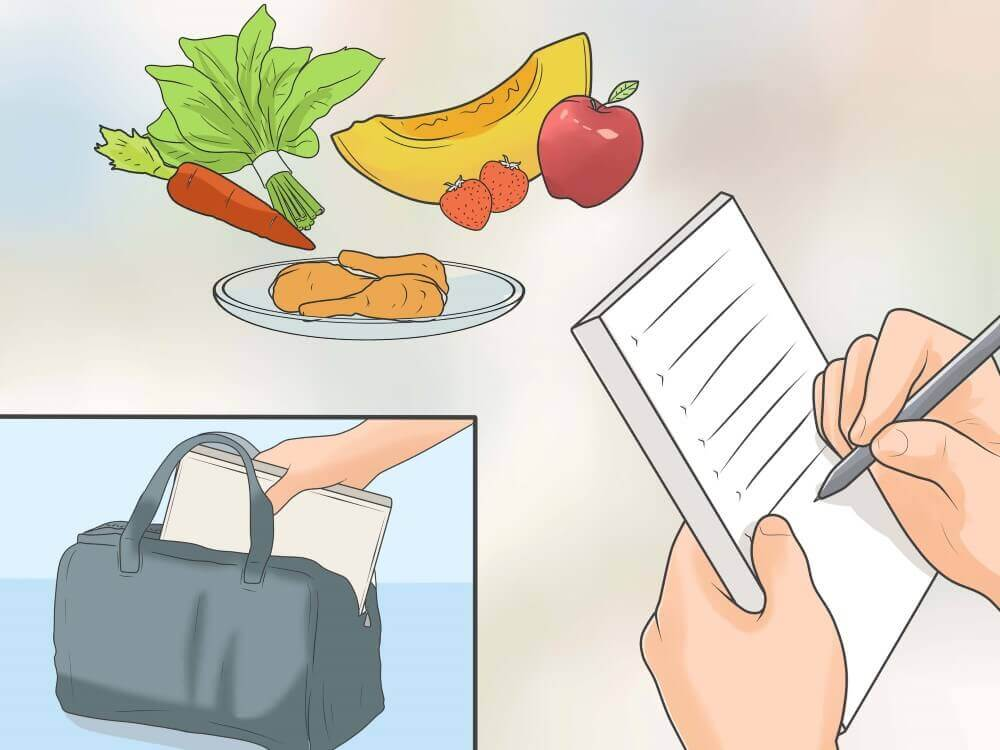 a list and some fruits