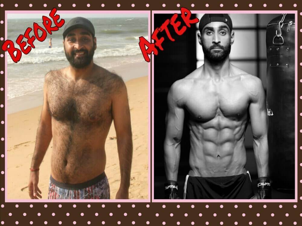 man showing body changes before and after