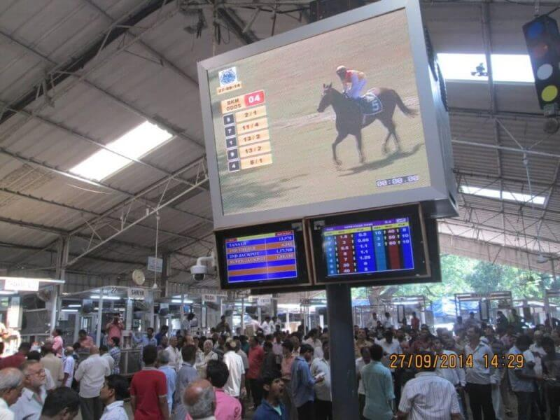 people watching horse racig in a hall