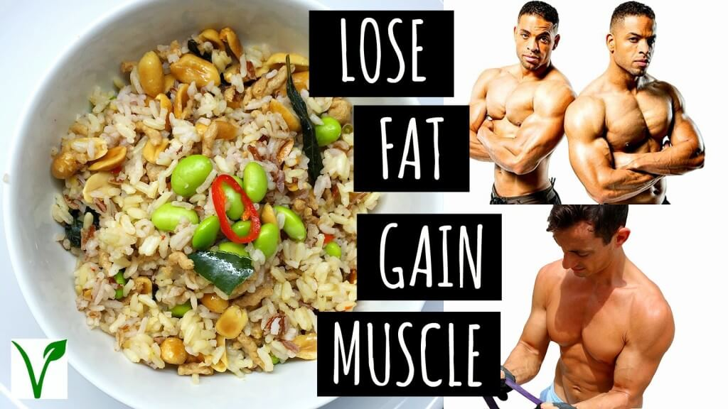 lose fat gain muscle, 3 musculine men and a plate with food
