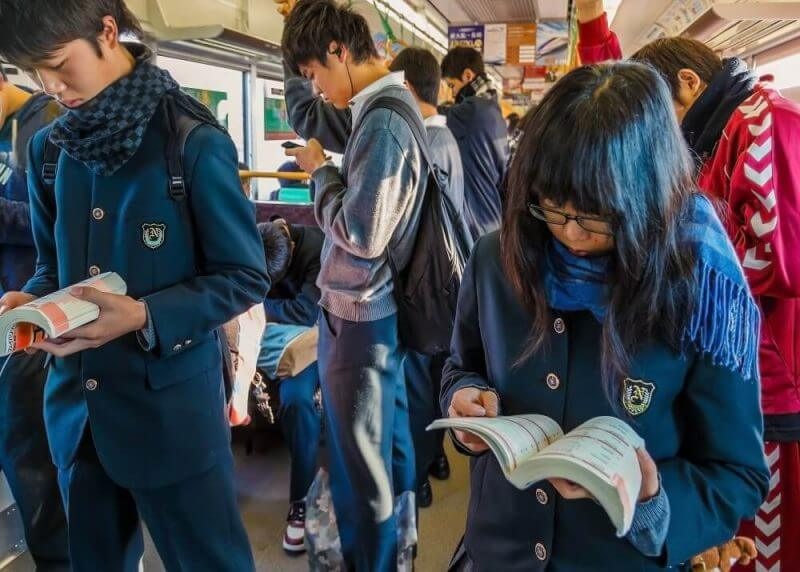 japanese yound people with books