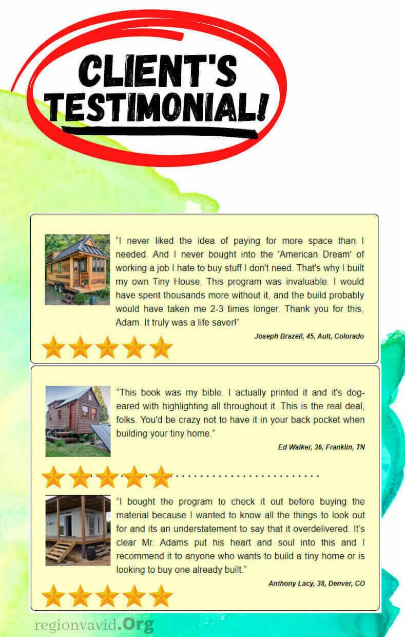 Tiny House Made Easy Client's Reviews