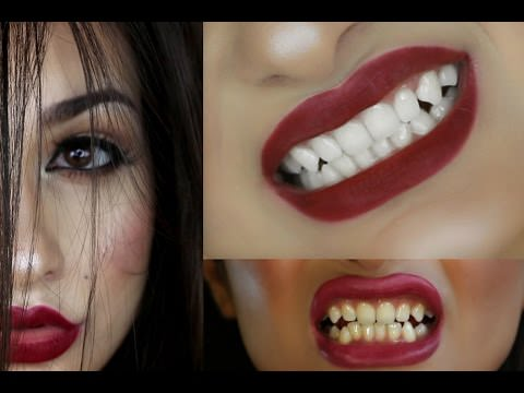 woman face and two types of teeth