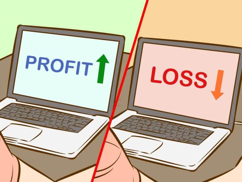 two laptop images one having the word profit Nand the other loss