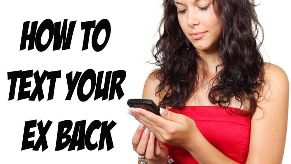 how to text your ex back, a woman in red texting on a white background