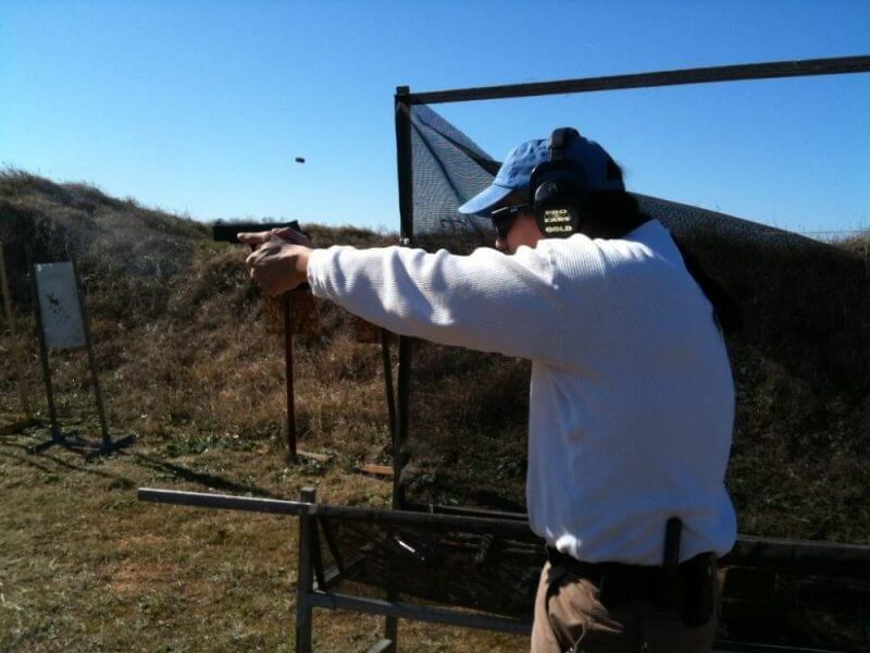 A MAN TRAINING TO SHOOT