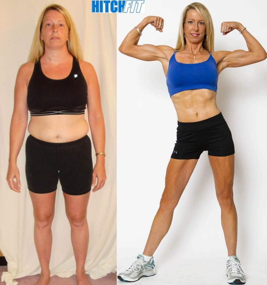 woman showing transformation