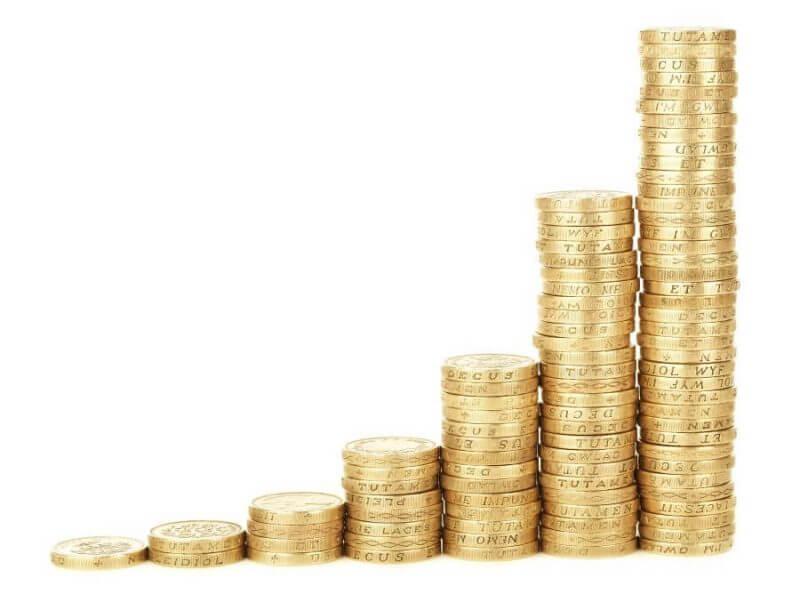 coins arranged upwards