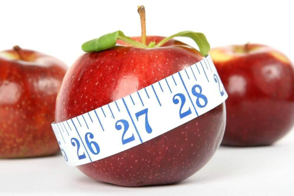 a measuring tape around the fruits
