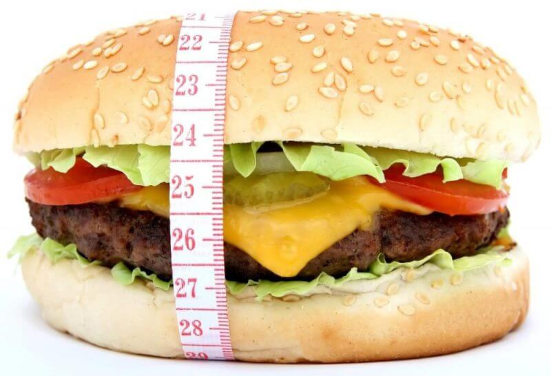 a measuring tape around a burger