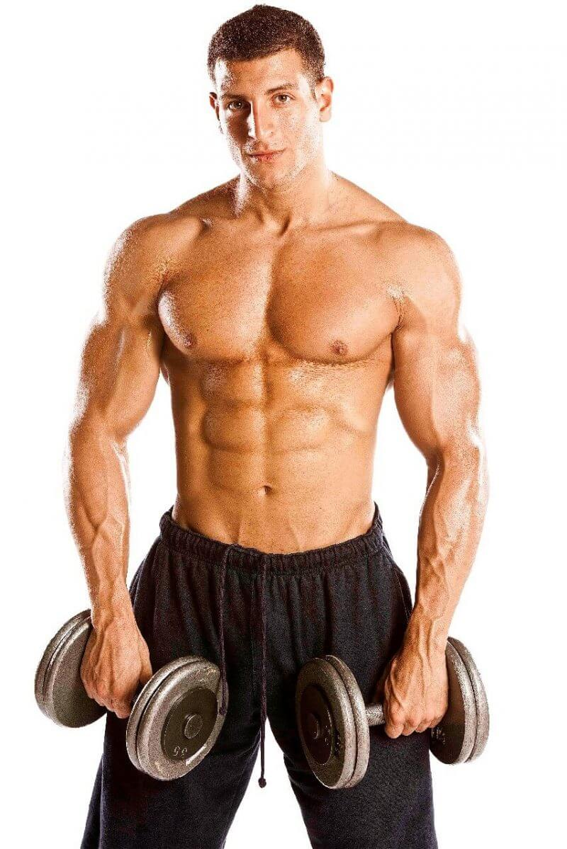 body builder holding weights