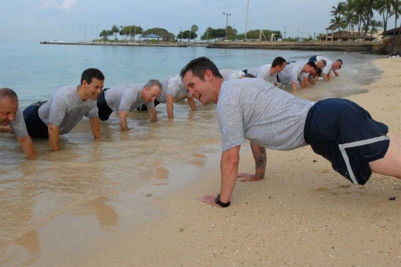 men at training
