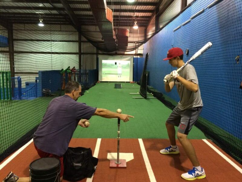 a baseball player training