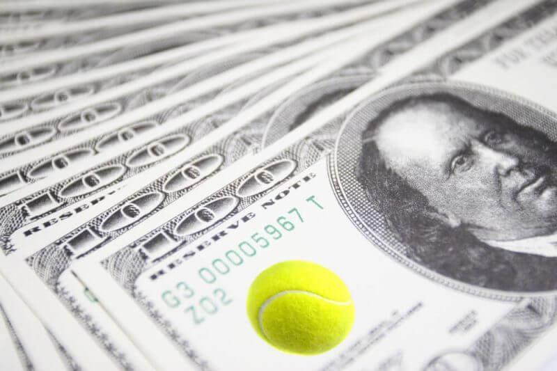 money and tennis ball
