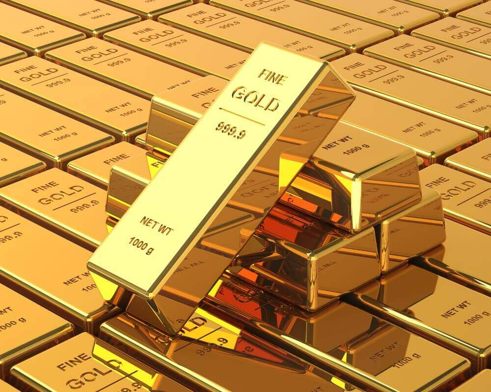 Big Set of Gold bars. Close up Image