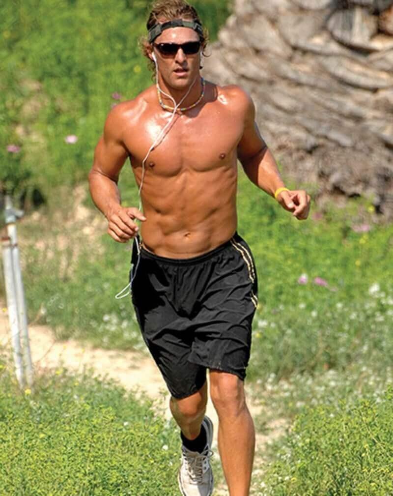 masculine man jogging