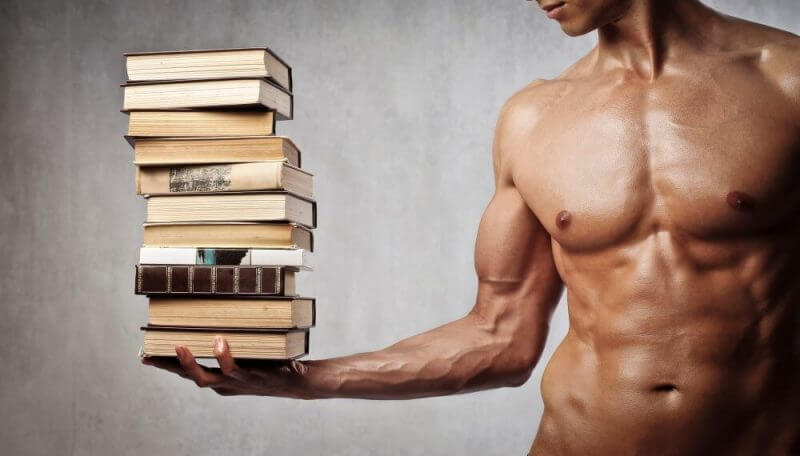 bodybuilder lifting books